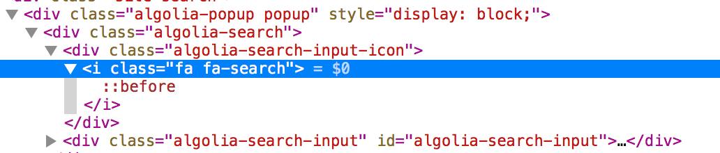 inspect element open on a font-awesome search icon